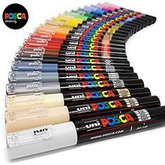 Uni Posca Paint Art Marker Pens - Fabric Glass Metal Pen - Full Range Set of all 21 Colours Paint Marker Pen, Marker Art, Pen Art, Paint Pens, Uni Posca, Posca Art, Marker Kunst, Cool School Supplies, Stationary School