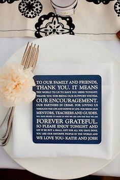 A really lovely and unique wedding idea for the reception – a beautiful message to reception guests is printed on a stylish square card, placed upon the dinner plate at every place setting on each reception table. A message from the heart so stylishing presented makes the wedding so much more personaized and meaningful. Add …