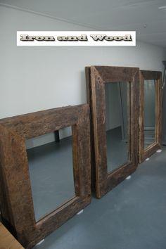 Grote robuuste industriële / indutriele spiegels van sloophout / oude wagondelen kijk op www.ironandwood.nl