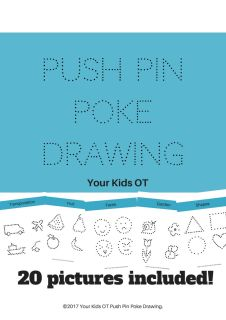 """A+set+of+5+themes+with+a+total+of+20+pictures+to+inspire+your+child+to+participate+in+""""poke""""+drawing.+These+themes+include+transport,+fruit,+faces,+the+garden+and+shapes.++Preparation+involves+placing+a+cork+mat+on+the+table,+then+coloured+cardstock+(or+paper)+and+then+the+printed+template.+Use+a+push+pin+to+poke+each+dot+to+create+a+drawing.+For+the+best+effect,+hold+the+finished+picture+up+to+a+window+for+the+light+to+shine+through+the+holes!+"""