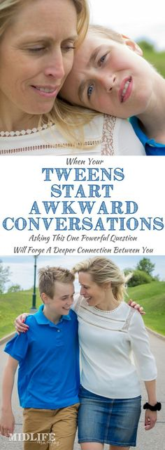 We all know that there will inevitably be awkward conversations with your tween or teen. I love this idea / tip because no matter how flustered or embarrassed I feel by my child's conversation starters, this works! What parents really want is a way to respond positively in the moment when we've been caught off guard instead of reacting negatively and damaging our relationship with our child. Here's the only phrase you'll ever need to know! #positiveresponse #tweens #teenagers…