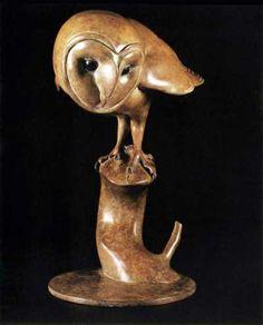 Bronze Birds Sculptures or statue by artist Nick Bibby titled: 'Barn Owl (Bronze Perched Barn Owl Bird Sculpture)'