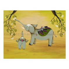 Reaching New Heights art print featuring elephants by malathip, $20.00