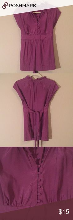 Purple Blouse -C This blouse has strips of fabric that tie in the back. I am happy to provide any other information you would like to know. I am willing to negotiate on price if it is reasonable. Thank you! (: Apt. 9 Tops Blouses