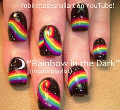 Nail-art by Robin Moses: Rainbow in the Dark Nails!