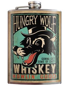 Stainless Steel Flask 8 oz Liquor Alcohol Wedding Party Drinking Hungry Wolf #TrixieMilo