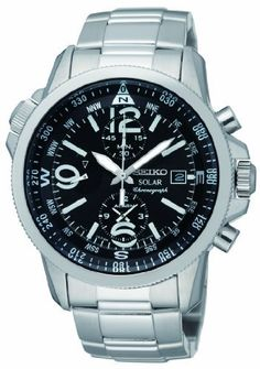 Seiko Solar Chronograph Compass Black Dial Mens Watch SSC075 Seiko. $205.00. Chronograph Display. Round Stainless Steel Case. Water Resistance : 10 ATM / 100 meters / 330 feet. Steel Bracelet Strap. Save 48% Off!