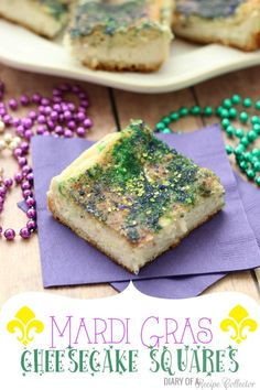 Mardi Gras Cheesecake Squares- Super easy made with can crescent rolls.