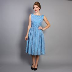 1950s Cocktail DRESS & Bolero SET / Pale BLUE by LuckyDryGoods
