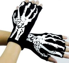 Bone Skeleton Fingerless Gloves Deathrock Gothic Punk Halloween Cosplay Costume
