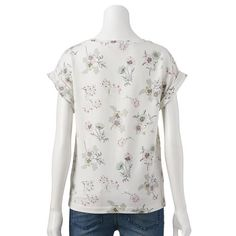 LC Lauren Conrad Floral French Terry Top