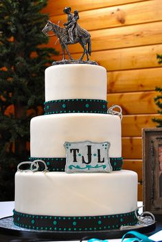 Western Theme Wedding Cake by pieceacakeutah, via Flickr...similar to what I want for my vow renewal cake