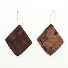 Large birch bark earrings Angles by bettula on Etsy