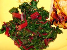 Incredibly yummy- slightly spicy with a bit of lemon zip. This is the MOST delicious swiss chard recipe EVER! -I promise. (Adapted from a recipe from Bon Appetit)