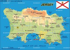 Map of Jersey (Island in Crown Dependency)) Bailiwick Of Jersey, Jersey Channel Islands, Lets Run Away, Poitiers, Island Map, Kingdom Of Great Britain, Travel Channel, British Isles, Family History