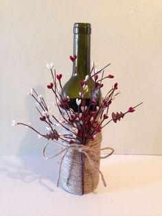Wine decor, twine wine bottles, wine bottles, decorated wine bottles on Etsy, $16.00 #DIYHomeDecorWineBottles