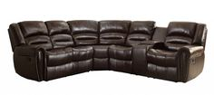Homelegance 3 Piece Bonded Leather Sectional Reclining Nail Head Accent Sofa with 2 Cup Holders Console, Brown Best Sectional Couches, Corner Sectional Sofa, Leather Sectional Sofas, Large Sectional, Leather Reclining Sofa, Reclining Sectional, Farmhouse Furniture, Living Furniture, Farmhouse Sofas