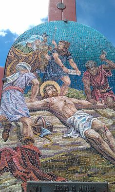 11 Stations of the Cross along the stairs @ Mother Cabrini Shrine Colorado. . Each station is made of stone mosaics made in Italy and depicts the suffering of our divine Lord as He gave His life for our salvation