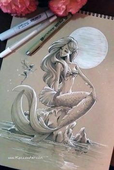 Sketched mermaid on toned paper and white gel pen. Mermaid by KelleeArt/Kellee Riley Mermaid Drawings, Mermaid Tattoos, Mermaid Art, Mermaid Sketch, Drawings Of Mermaids, Mermaid On Rock, Mermaid Pose, Mermaid Tattoo Designs, Watercolor Mermaid