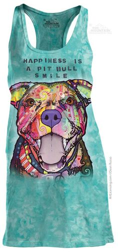 For Mom With Furkids ▸ Pit Bull Smile Racerback T-Shirt by Dean Russo