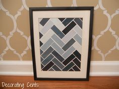 Could also do with kids artwork.  cut into shapes to make chevrons Paint Chip Craft with directions!