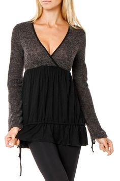 Two Tone Ruffle Bottom Tunic  But with skinny jeans--not leggings--and a cami underneath, for modesty.