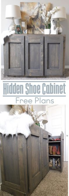 Hidden Shoe Cabinet Hidden Shoe Storage never looked so good with this hidden shoe cabinet. These DIY shoe cabinet plans give you an easy step by step tutorial to create your own hidden shoe storage . Entryway Shoe Storage, Diy Shoe Storage, Diy Shoe Rack, Shoe Storage Cabinet, Hidden Cabinet, Storage Ideas, Shoe Storage Hidden, Shoe Racks, Shoe Storage Plans