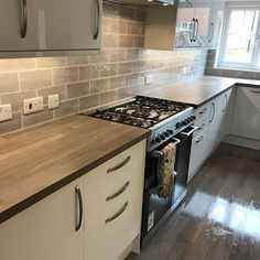 Miravet Grey Wall Tile (Sample) Grey Kitchen Tiles, Grey Wall Tiles, Kitchen Splashback Tiles, Grey Walls, Rustic Kitchen, New Kitchen, Kitchen Ideas, Metro Tiles, Flat Ideas