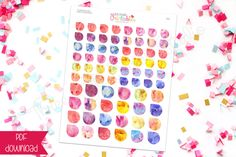 Assorted Watercolor Tear Drop PRINTABLE Planner Stickers (DS021) for Erin Condren, 3LB Studio, Inkwell Press & other planners by 3LBstudioPrintables on Etsy