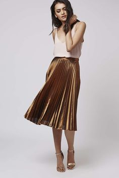 Foil Pleated Midi Skirt - All Dressed Up - Clothing