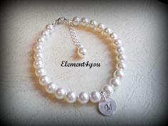 Pearl bracelet, Initial charm bracelet, personalized monogram. Junior bridesmaid gift?