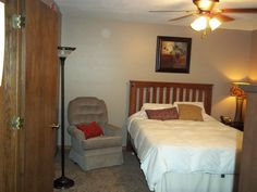One of the bedrooms for families to stay in while their children are being medically treated! This room was updated in June 2012 through our Adopt-A-Room project by BUNN.  Thank you BUNN!! This room is welcoming & a comfort to families!!