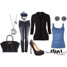 Black sweater and blue tank top with jeans . Heels and accessories