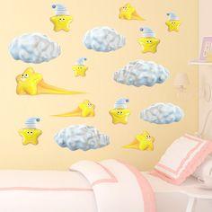Stickers pour enfants: Kit de nuages et étoiles fugaces. Kit Stickers pour enfants. #stickersmuraux #decoration #motifs #mosaïque #étoiles #WebStickersMuraux