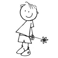 Scrapbooking - Artemio - Tampon bois - Garçon & fleur - 5 x cm Doodle Drawings, Doodle Art, Easy Drawings, Art Rupestre, Stick Figure Drawing, Art Pierre, Stick Figures, Rock Crafts, Pebble Art
