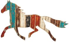 Distressed & Painted Wood Plank Horse Wall Decor