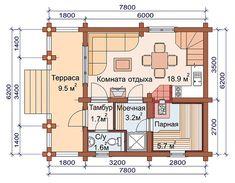 6,2 X 7,8Бревно оцилиндрованное 2 этажа Баня-на-заказ 8(925)-140-1772