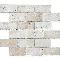 2-Inch x 4-Inch Tumbled Brick Mosaic Tile in Ivory Travertine