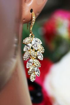 Leafy Chandelier Wedding Earrings Gold Leafy by AuroraJewelryBox