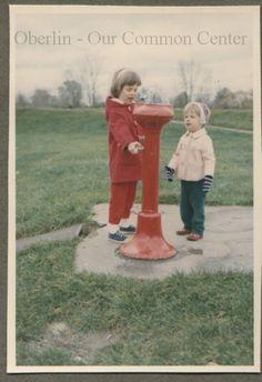 ID#0501 Date: 1965. This water fountain was located around the Morgan Street Reservoir. Participants: Carol and Dewey Ganzel.