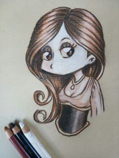 Cute kawaii girl, CarbOthello on craft paper