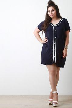 Button Up Sporty Tee Shirt Dress – Style Lavish
