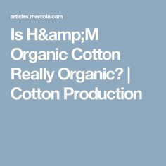 Is H&M Organic Cotton Really Organic? | Cotton Production