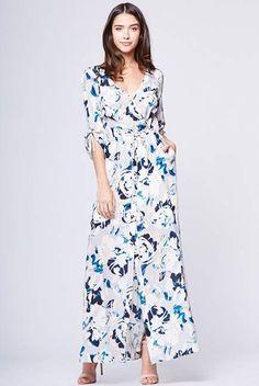 Super cute patterned maxi dress. My Fair Lady Silk Maxi