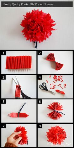 Instruction Layout crepe paper flower pom pom full post on Pretty Quirky Pan. Instruction Layout – crepe paper flower pom pom – full post on Pretty Quirky Pan… – – C crepe diyapartment diyfacemask diyheadboard diyhouse diymaquillaje diypaper di Flower Crafts, Diy Flowers, Fabric Flowers, Wedding Flowers, Flowers Decoration, Crepe Paper Decorations, Birthday Decorations, Crepe Paper Crafts, Tissue Paper Flowers