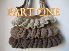 ▶ Crochet Ruffle Bag Tutorial pt 1 - YouTube