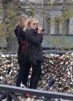 Jessica Lange and Aleksandra Baryshnikov strolling in Paris.
