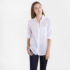 The Cotton Lawn - White – Everlane  light weight for under sweaters