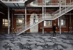 Vinylová podlaha se vzorem na přání, BOCA Group Praha. / Vinyl flooring with individual design, BOCA Group Praha. Vinyl Flooring, Digital Prints, Stairs, Praha, Traditional, Abstract, Floors, Furniture, Design