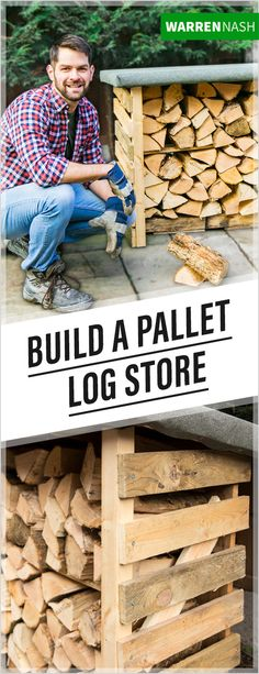 Here's how to make a pallet log store. It's the perfect place to store all your fire wood and logs, freeing up room in the shed. This pallet wood stor Storing Garden Tools, Garden Tool Storage, Diy Storage, Pallet Storage, Storage Baskets, Storage Ideas, Diy Log Store, Wood Store, Log Store Plans